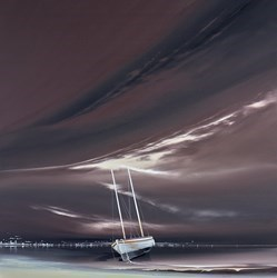Mocha Boat III by Jonathan Shaw -  sized 30x30 inches. Available from Whitewall Galleries